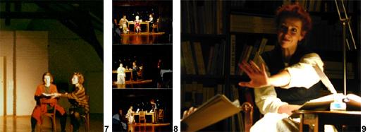 Szenenfotos zu den Theaterstücken Vater, das muss anders sein, Voices und Mit Kerzenruß auf Zuckerpapier von Gisela Zies, Berlin